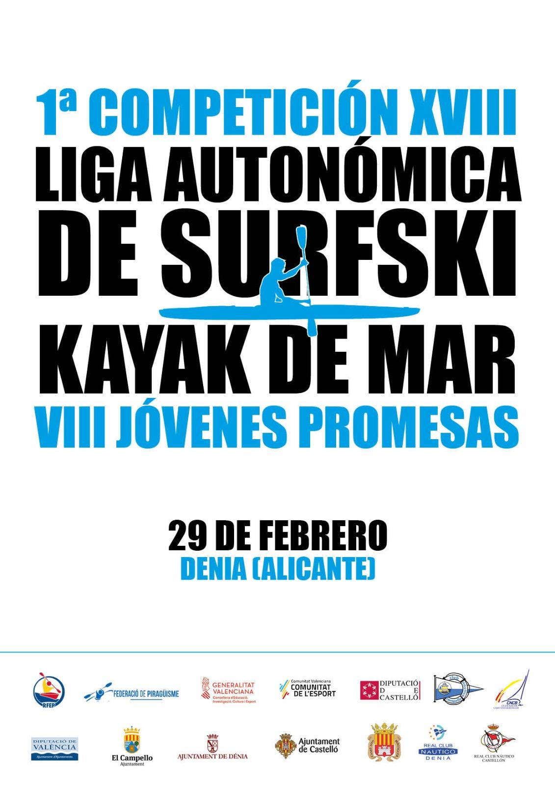 El Real Club Náutico de Dénia acoge la primera competición de la XVIII Liga Autonómica de surfsky y kayak de mar – VIII Jóvenes Promesas