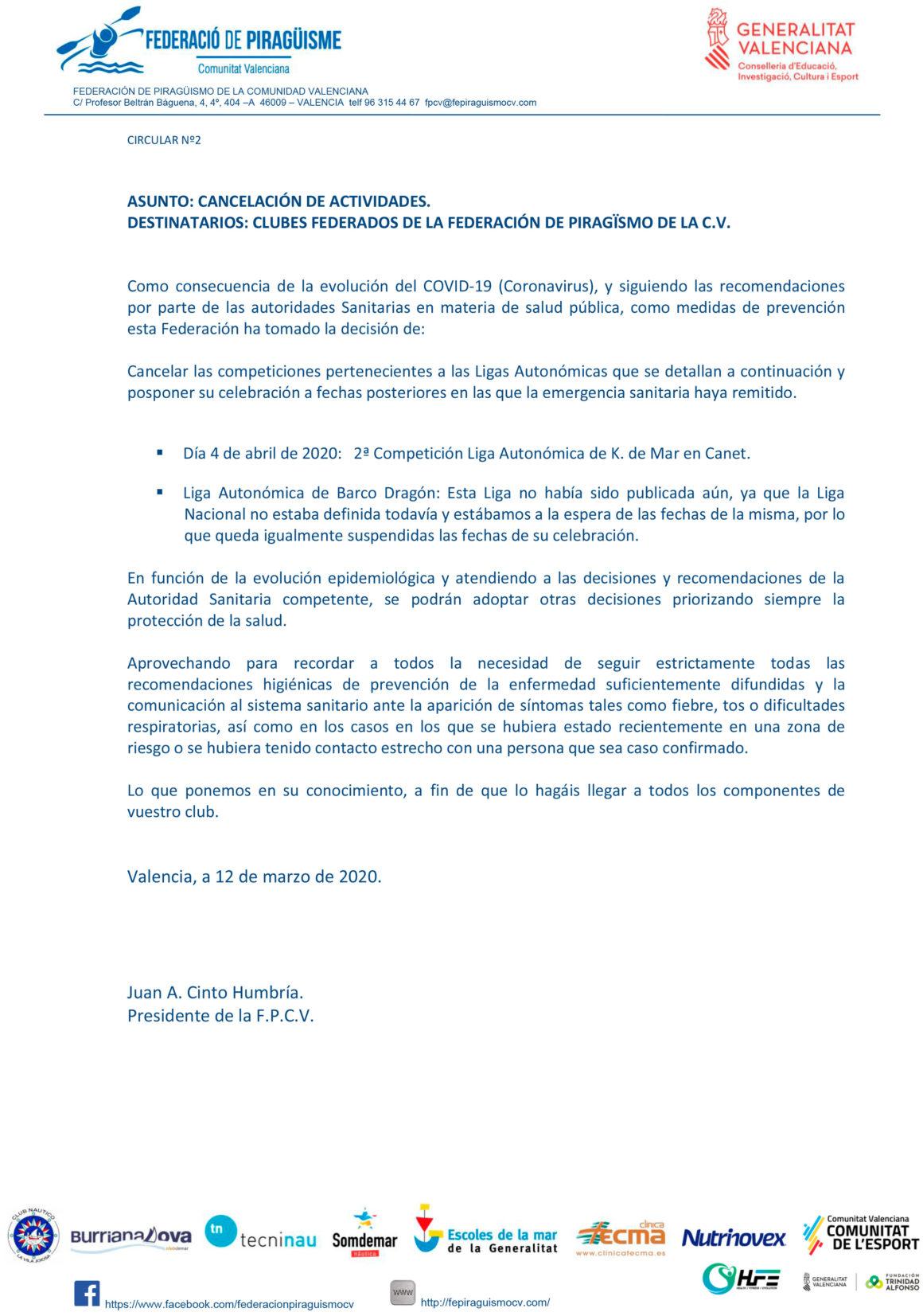 La Federación de Piragüismo de la CV aplaza todas las competiciones de los próximos días